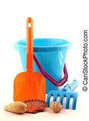 Summer Vacation - Summery blue bucket, orange spade and ...