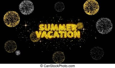 Summer Vacation Text Reveal on Glitter Golden Particles Firework. Sale, Discount Price, Off Deals, Offer promotion offer percent discount ads 4K Loop Animation.