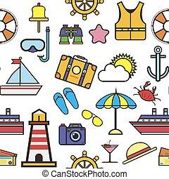 Summer vacation to seaside, holidays icons set vector. Ship...