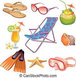 Summer vacation travel icon set