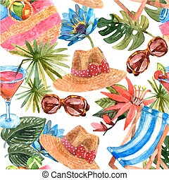 Summer vacation travel seamless pattern