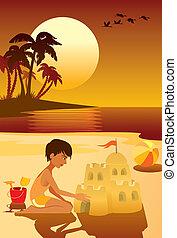 Summer vacation - Tropical island, boy having fun at the ...