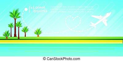 Summer Vacation Tropical Island Plane In Sky Sea Shore Sand Beach
