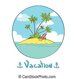 Summer Vacation Tropical Ocean Island Logo Hand Draw