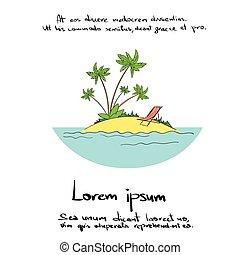 Summer Vacation Tropical Ocean Island Logo Hand