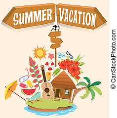 Summer vacation with bungalow on island