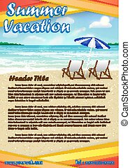 summer vacation with sand beach poster banner