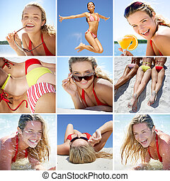 Summer vacations - Collage made of images with people on...