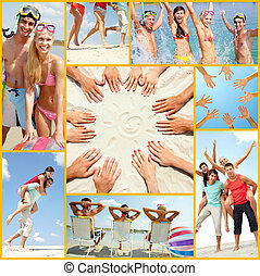 Summer vacations - Collage of four friends having summer ...