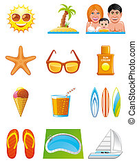 Summer vacations icons -  Summer vacations icons