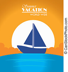 summer vacations design over sunny background vector...