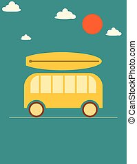 Summer vacations road travel poster