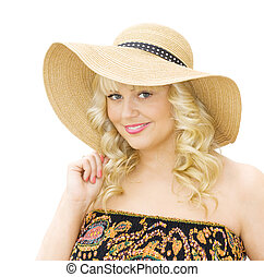 Summer vacations - woman wearing straw hat - Summer...