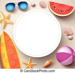 Summer vector background with empty white circle