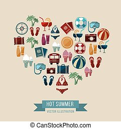 Summer vector background with flat beach and vacation icons in heart shape