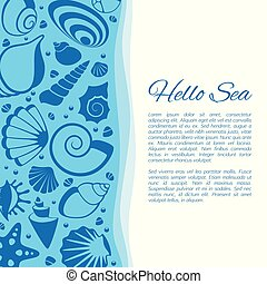 Summer vector background with seashell frame. Seaside holiday card decorated by cockleshells