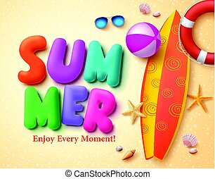 Summer vector design concept with colorful 3D text