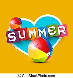 Summer Vector Design with Hert and Beach Balls