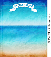 Summer - Vector illustration of a beautiful summer sea ...
