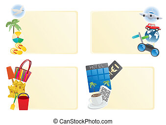 Vector illustration of beach banners with blank spaces for notes