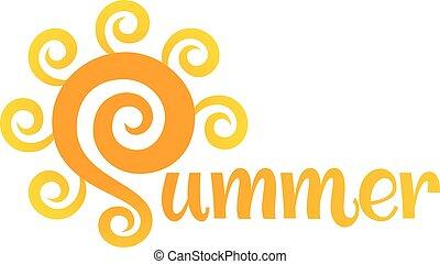 summer., vector, lettering, met, zon