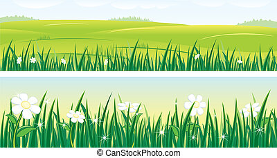 Summer - Vector panoramic banners with sunny summer...