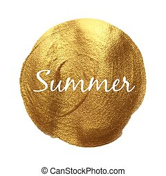 Summer vector quote hand drawn illustration icon card isolated paint hand drawn gold