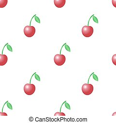 Summer vector seamless pattern with red cherries on the white background.