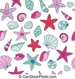 summer vector seamless pattern with seashells