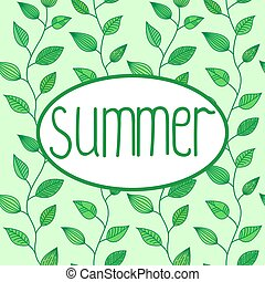 Summer vector sign in oval frame with leaves background, decoration for banners