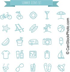 summer vector  thin line icons set