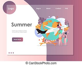 Summer vector website landing page design template