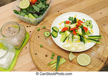 Summer vegetable salad on a plate