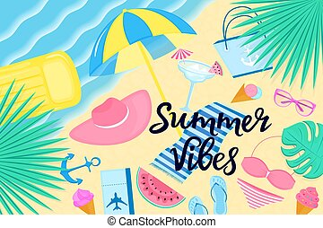 Summer vibes banner. Beach vacation on a tropical island. Women's clothing and accessories.