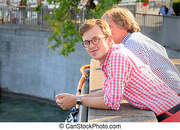 Summer vibes in Zurich - Beautiful young men in traditional...