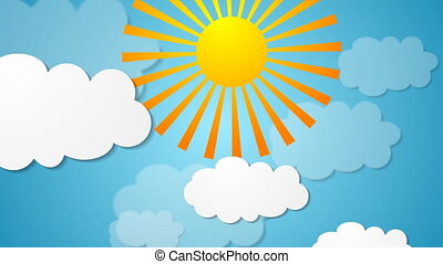 Summer video animation with sun and clouds