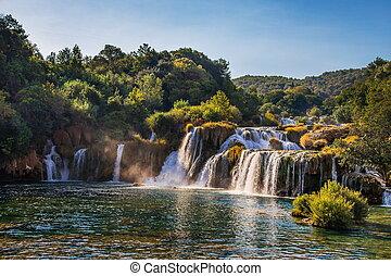 waterfall on Krka river in Croatia