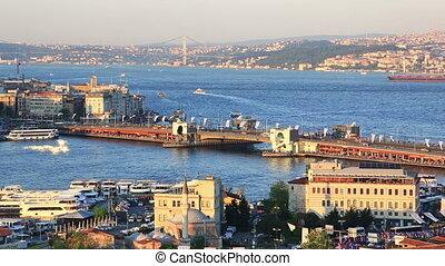 Summer view at The Galata bridge, Turkey - Picturesque view...