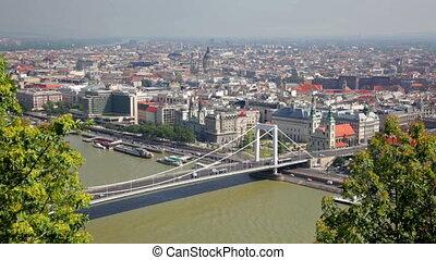 Summer view of Elisabeth Bridge across Danube, Budapest