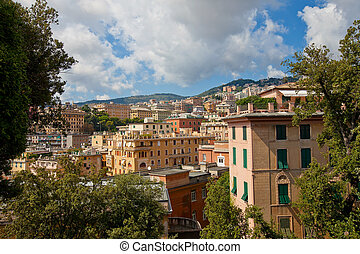 Summer view of Genoa city, Italy