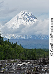 Summer view of Kamen Volcano. Kamchatka Peninsula, Russia