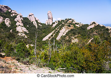 Summer view of mountain landscape in Montserrat