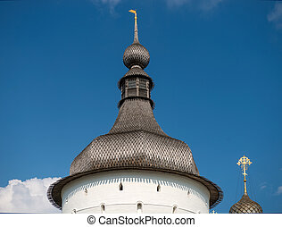 Summer view of Odigitrievsky tower of the medieval Kremlin in Rostov the Great as part of The Golden Ring's group of medieval towns of the northeast of Moscow, Russia. Included in the World Heritage list of UNESCO.