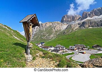 Pordoi pass - summer view of Pordoi pass, Italian Dolomites