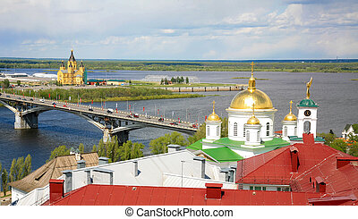 Summer view of the confluence of two rivers of the Oka and Volga in Nizhny Novgorod
