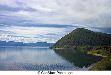 Summer view on Baikal lake - Summer landscape with mountains...