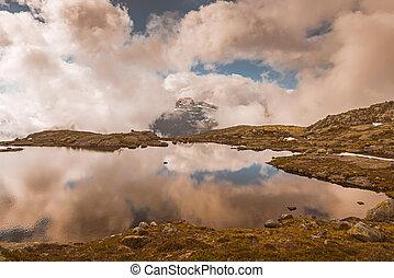summer view to mountain lake Norway