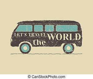 Summer vintage camp travel poster. Vintage RV, Motorhome...