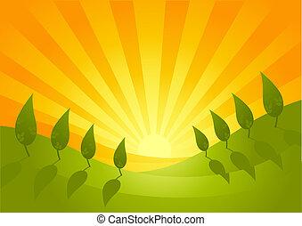 Summer Vista Landscape - A beautiful landscape illustration.