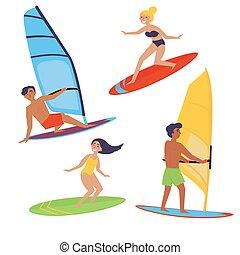 Summer water beach extreme sports. Windsurfing